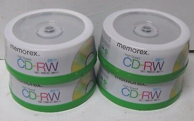 Lot Of 100 Memorex High Speed 80 Minute Cd-Rw New Sealed 4 X 25 Spindle Packs