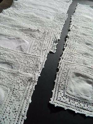 Vintage table setting for 10 people . White Irish linen & filet lace mats x 20