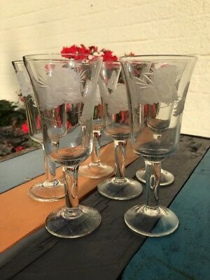Vintage Unused Cut Glass Butterfly Etched Sherry Glasses Unused Boxed