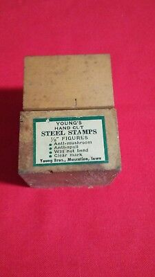 """Vintage Young's # number punch 1/8"""" steel stamps"""