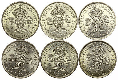 1941 - 1946 Florins Date Run George VI ~ EF-gEF Lot of 6 Silver Coins