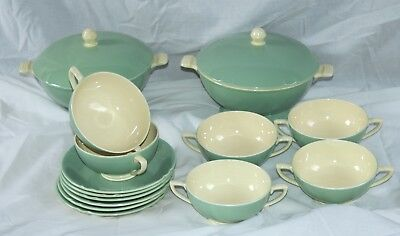 1940's Art Deco Minton's 'Solano Ware' by John Wadsworth Soup Set