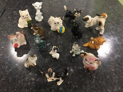 Lot of 16 Sweet Vintage Cat Kitten figurines ~ Japan + toothpick holder