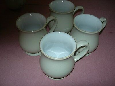 4 x DENBY WHITE LINEN CRAFTSMAN MUGS (SHINY FINISH) - EXCELLENT CONDITION