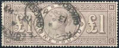 GB QV SG185 £1 Brown NC Very Fine Used with Certificate