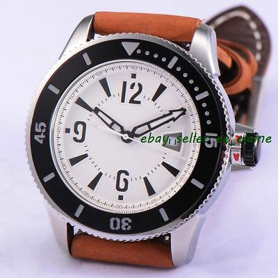 43mm White Sterile Dial Sub Style Men Automatic Watch Black Bezel Brown Strap 02