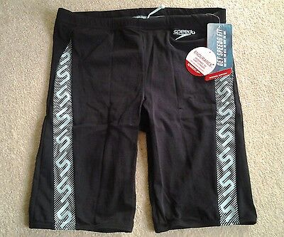 *NEW* Mens Speedo ENDURANCE Black & blue Stripe Swimming Jammers/Shorts size 32""