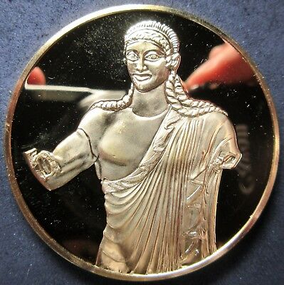 510 B.c Etruscan Apollo Of Veii 24Kt Electroplate 2.115 Oz Sterling Silver Medal