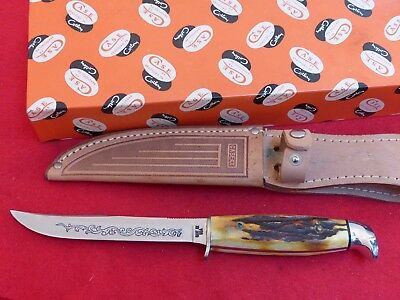 Case XX USA 1977 Blue Scroll India stag 516-5 mint in box fixed blade knife