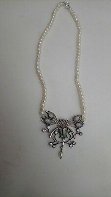 stunning art deco suffragettes silver butterfly pendent on pearl necklace