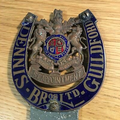 Vintage Enamel Dennis Bros. of Guildford 'By Appointment' Bus Fire Engine Badge