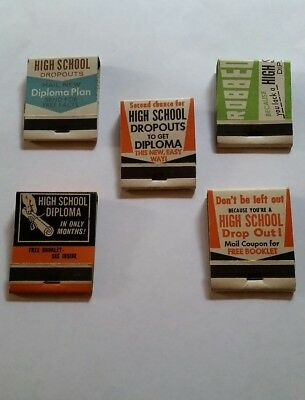"Vintage Lot of 5 ""Get Your Diploma"" Matches Match Books"