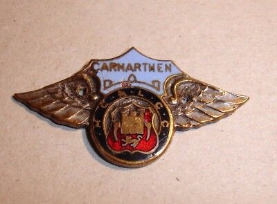 CARMARTHEN MC & LCC MOTORCYCLE & LIGHT CAR CLUB Badge Small Dashboard Type