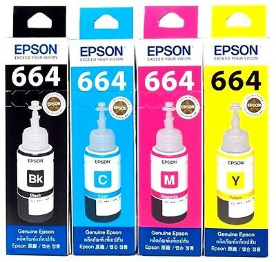 EPSON Official Printer Ink Refill for T6641/T6642/T6643/T6644 Size 70ML 1SET