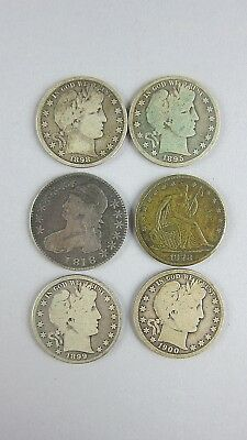 Set of 6 US Silver Half Dollars 1818 Capped Bust,1878 Seated Liberty, 4 Barber