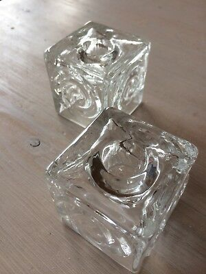 Vintage Swedish pair of glass candle sticks. Cubes with a swirly pattern.