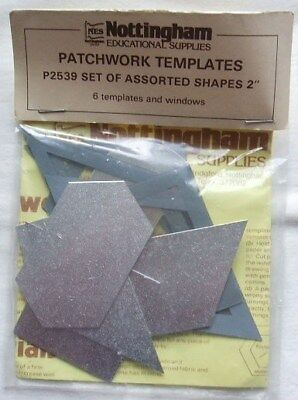 "Vintage Metal Patchwork Templates - Assorted Shapes 2"" - 6 Templates & Windows"