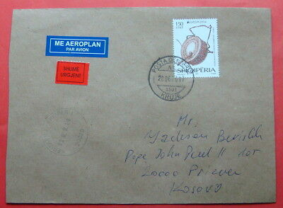 2017 Albania Urgent Cover, Cancellation  Kruje And Prizren, Very Rare