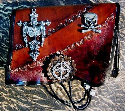 Legends of the Sea Natural Edge Tooled Browns n Tan Leather Pirate Plunder Pouch