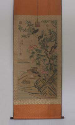 Qianlong Signed Old Chinese Hand Painted Calligraphy Scroll w/Flower&bird
