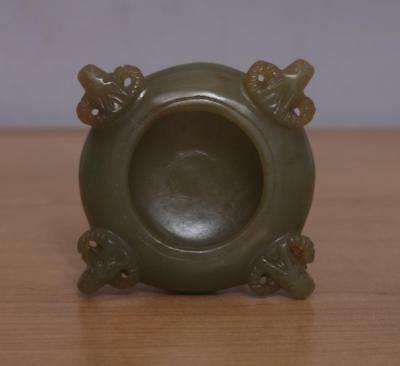 Vintage Chinese Celadon Carved Nephrite Hetian Jade Brush Washer w/ Four sheep