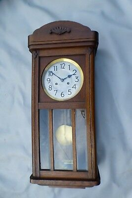 A VERY NICE OAK CASED JUNGHANS GONG STRIKE WALL CLOCK c1930 * SERVICED *