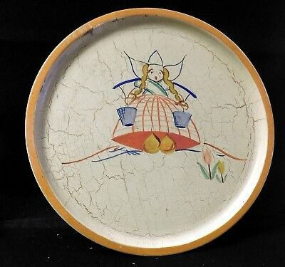 Dutch Milk Maid Holland Wood Tray Hand Painted Vintage Marked
