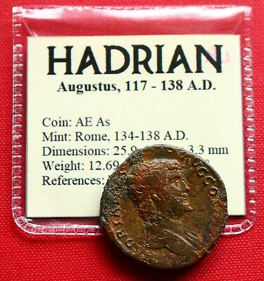 Hadrian AE As 12g Felicitas 138 AD Rome Roman Empire Coin