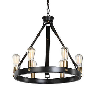 Vintage Industrial 6 Light Antique Bronze Chandelier