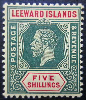 Leeward Islands 1914  KGV 5s Green & Red/yellow/White Back   MLH  Sc 60  SG 57a