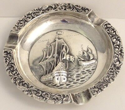 MIDCENTURY? GERO 90 SIGNED EQUISITE HIGH RELIEF PIRATE SHIP ASHTRAY 091317gA@