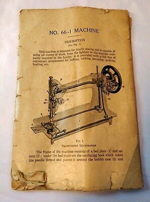 Original Paper Instruction Book Manual for Singer No. 66-1 Sewing Machine, as is