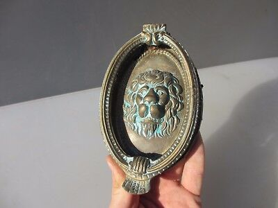 Vintage Brass Lion Head Door Knocker Lions Antique Old Beading Oval Gilt  - BENT