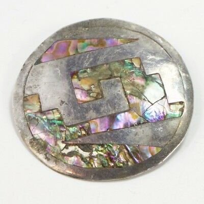 VTG Sterling Silver - MEXICO TAXCO Abalone Pendant Brooch Pin - 9g
