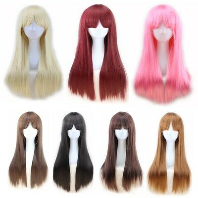 New 70cm Wigs Long Straight Cosplay Fashion Colors Wig Heat Resistant For Women