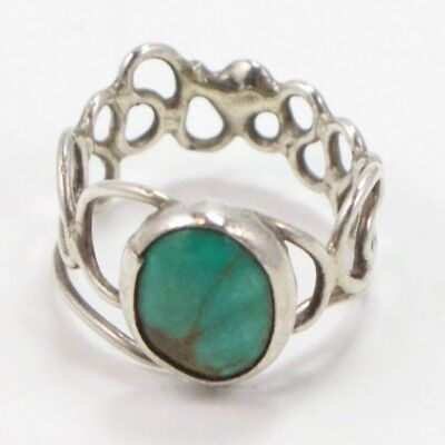 VTG Sterling Silver - NAVAJO Turquoise Wire Band Ring Size 6.5 - 4g