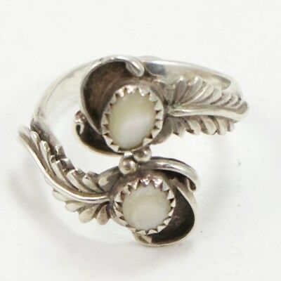 VTG Sterling Silver - NAVAJO Signed MOP Feather Bypass Ring Size 8.5 - 5g