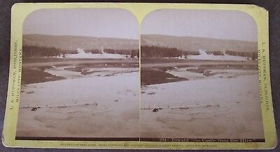 L.A. HUFFMAN STEREOVIEW # 294 TOWARD THE CASTLE fr. BEE HIVE - Early YELLOWSTONE