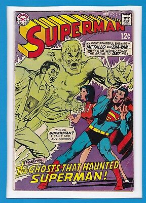 """Superman #214_Feb 1969_Fine_""""the Ghosts That Haunted Superman""""_Silver Age Dc!"""