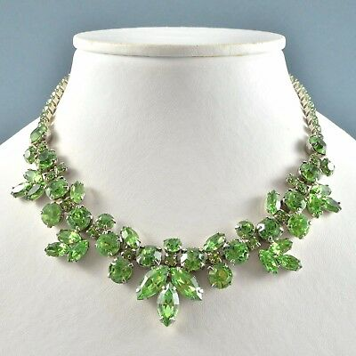 Vintage Necklace LA ROCO 1950s Pale Green Crystal Silvertone Bridal Jewellery