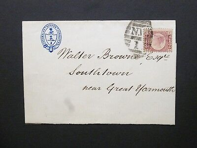 """GB 1873 QV 1/2d bantam Plate 4 Wrapper """"N.W 1"""" London barred oval to Yarmouth"""