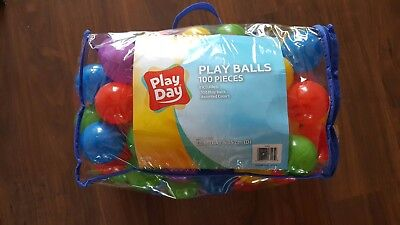 Baby Plastic Pit Balls Asst Colors 100 Piece Toddler Game Toys New in Bag