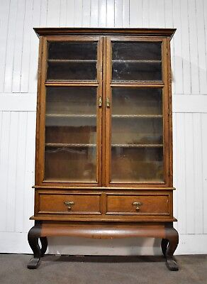 Antique vintage very large 7ft tall glazed bookcase / display cabinet