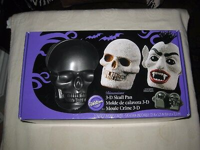 Wilton 3D Skull Cake Pan For Halloween Zombie Vampire Spooky Horror Party Cakes