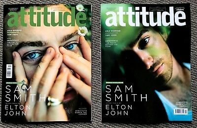 2 x Attitude Magazine October 2017 Sam Smith Collectors Edition Covers  gay int