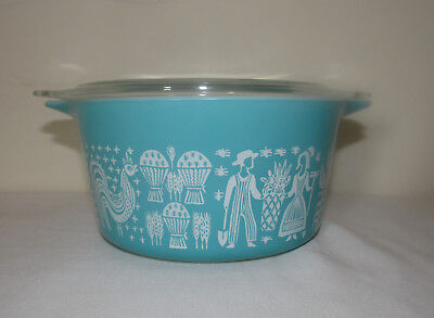 Pyrex Glass Turquoise Amish Butterprint #473 One Quart Casserole Dish with Lid