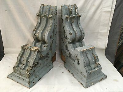 Large Pair Antique Victorian Corbels Roof Brackets Vtg Gingerbread Chic 731-17E
