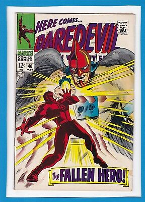 """Daredevil #40_May 1968_Vg Minus_The Unholy Three_""""the Fallen Hero""""_Silver Age!"""