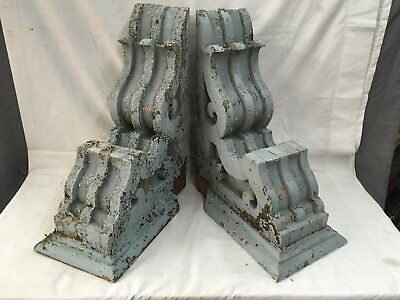Large Pair Antique Victorian Corbels Roof Brackets Vtg Gingerbread Chic 732-17E