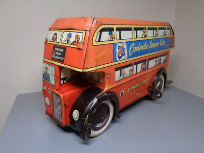 Wells Brimtoy England Vintage Tinplate London Transport Bus Very Rare Item Vg